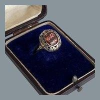 Art Nouveau Platinum Gold Rose Zircon Ring