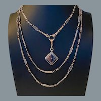 Antique Long Niello Rare Link Necklace and Locket