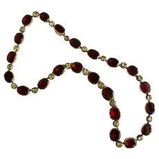 Extraordinary Georgian Garnet Chrysoberyl Gold Necklace Circa 1820