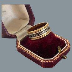 Georgian 18 Karat Gold Enamel Mourning Ring Dated 1815