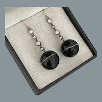 Antique diamond and Banded Agate Earrings