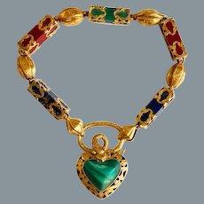 Remarkable Rare Antique Gold Padlock Bracelet Circa 1860