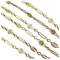 Antique French 18 Karat Long Gold Chain
