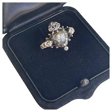 Antique Rose Diamond Crowned Heart Ring Love Ring 18th Century