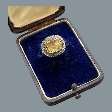 Rare Antique Topaz Diamond Ring 18th Century