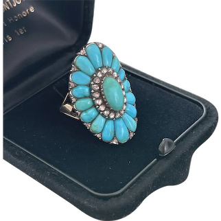 Extraordinary Antique Georgian Turquoise Diamond Ring