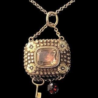 Antique Georgian Gold Topaz Vinaigrette Pendant Circa 1820