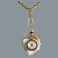 Rare Antique French Gold Heart Pendant with Watch and Compass Love Token