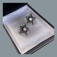 Antique Diamond  Dramatic Flower Earrings 19th Century