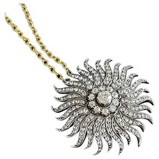 Antique Diamond Sunburst Brooch Pendant Circa 1880
