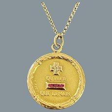 Antique  18 Karat Gold Love Pendant Signed Augis