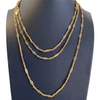 Antique French 18 karat Gold XLong Chain with Rhomboid Links