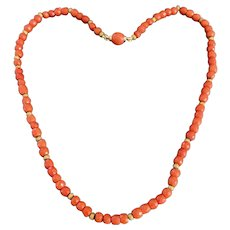 Antique  Natural Coral and Gold Necklace