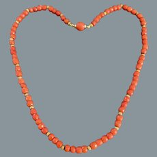 Antique  Natural Faceted Coral and Gold Necklace
