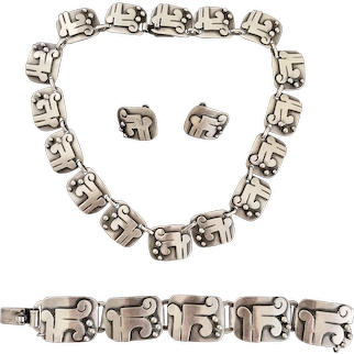 Mexican Sterling Signed  VICTORIA Necklace Bracelet and Earrings Taxco