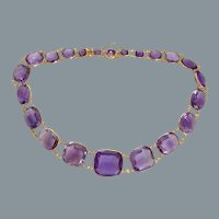 Antique Gold Amethyst Necklace Circa 1850