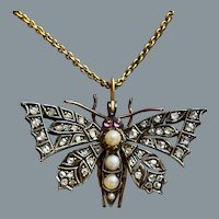 Radiant Antique Diamond Butterfly Pendant/Pin