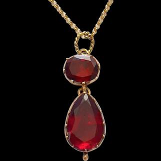 Antique Gold Garnet Pendant Circa 1820