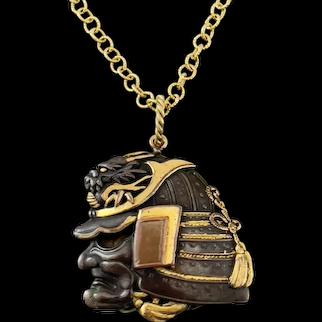 Rare Antique Shakudo Pendant of. a Warrior Helmet