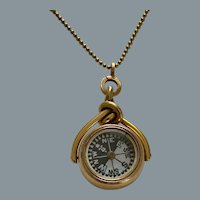 Antique 18 karat Gold Swivel Compass