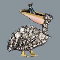 Extraordinary Antique Victorian Pelican Diamond Enamel PIn
