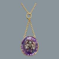 Antique Gold Diamond Amethyst Necklace