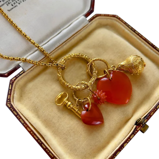 Antique Gold Charm Pendant with Large Split Ring Circa 1840