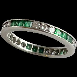 Platinum Diamond Emerald Eternity Band Ring