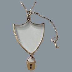 Rare Gold Antique French Transparent Shield Locket Circa 1820