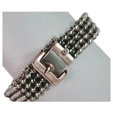Sleek Antique Silver Antique Buckle Bracelet