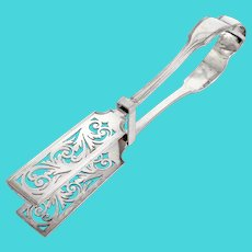 Antique Silver Plated Asparagus Tongs with a Horse Crest