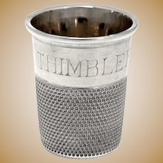 'Just a Thimble Full' Antique Chester Sterling Silver Spirit Measure