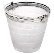 Victorian Silver Plate Ice Pail with a Cut Frosted Glass Barrel Body