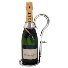Silver Plate Champagne or Wine Bottle Holder with Extendable Handle
