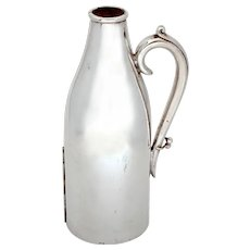 Antique Silver Plated Leather Lined Champagne Bottle Holder