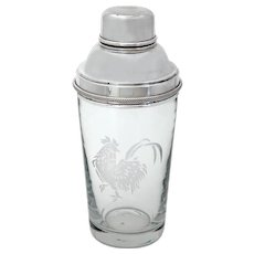 Silver Plated Cocktail Shaker with Etched Cockerel Motif