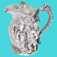 Victorian Electrotype Silver Plated Wine Jug Embossed with Cherubs at a Grape Harvest
