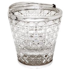 English Cut Glass and Silver Plated Ice Pail with Floral Pattern Pierced Ice Grill
