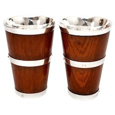 Pair of Late Victorian Oak and Silver Plate Beakers