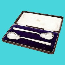 Pair of Antique Boxed John Grinsell & Son Sterling Silver Servers