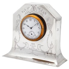 Edwardian Sterling Silver Mantle Clock with Removable Working Clock
