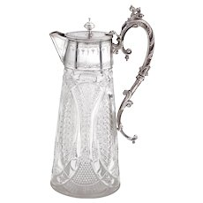 Victorian Silver Plated Claret Jug in an Unusual Oval Shape
