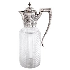 Antique Victorian Claret Jug with an Unusual Crimped Scroll Handle