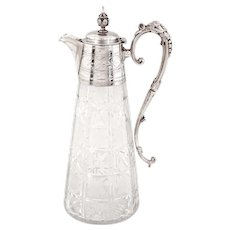 Victorian Silver Plated Claret Jug with Hand Engraved Cut Glass Body