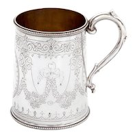 Victorian Tapering Cylindrical Shaped Sterling Silver Christening Mug