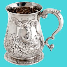 George II Sterling Silver Christening Mug with a Chased Floral and Scroll Baluster Body