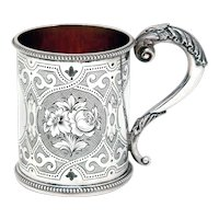 Victorian Sterling Silver Christening Mug Hand Engraved with Flowers