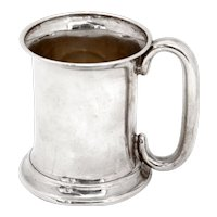 Edwardian Sterling Silver Christening Mug with a Plain Cylindrical Body