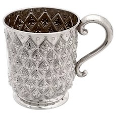 Victorian Sterling Silver Christening Mug Hand Chased in a Pineapple Style