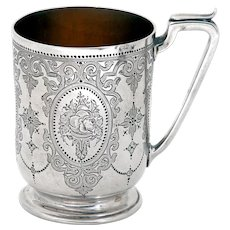 Victorian Sterling Silver Childs or Christening Mug with Hand Engraved Floral Scenes